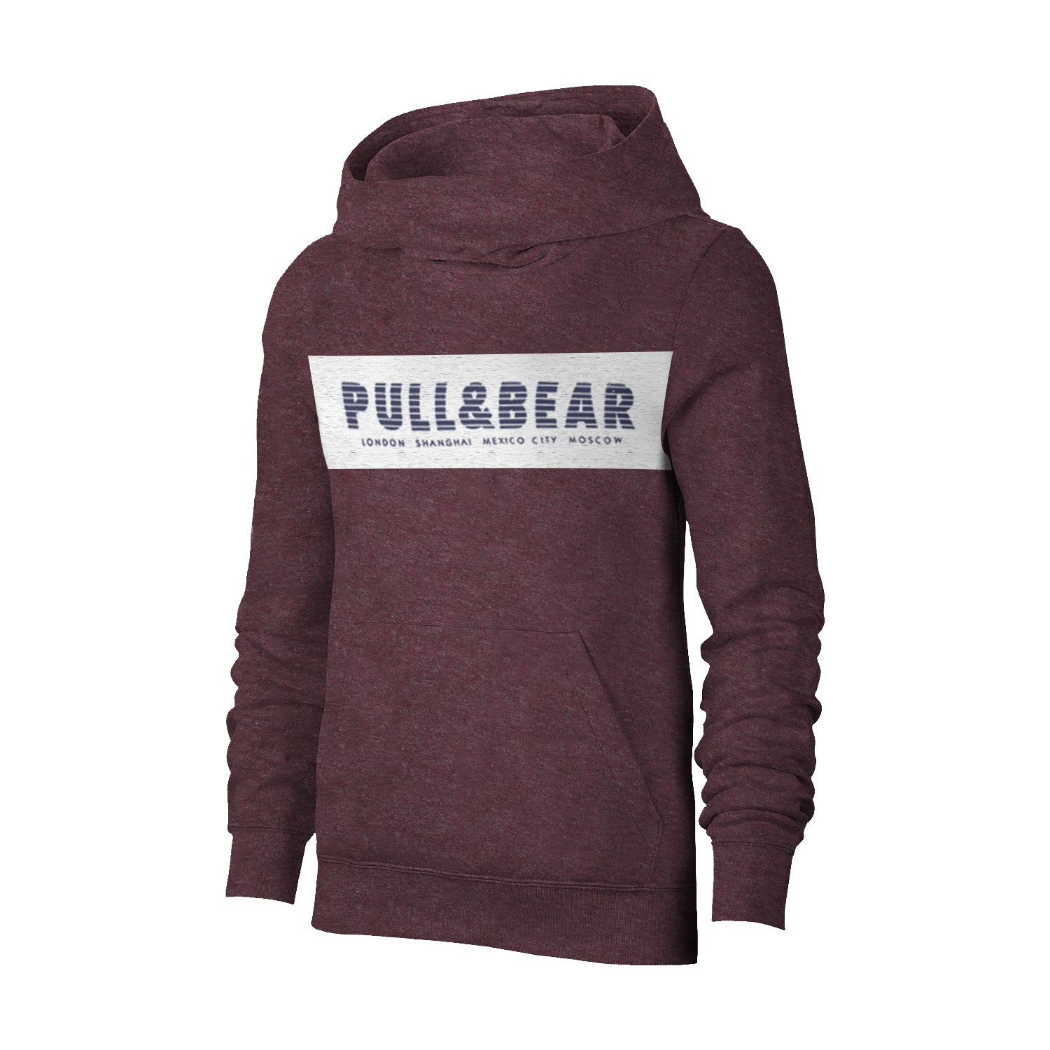 P&B Fleece Pullover Hoodie For Men-Burgundy  Melange with Off White Panel-BE13354