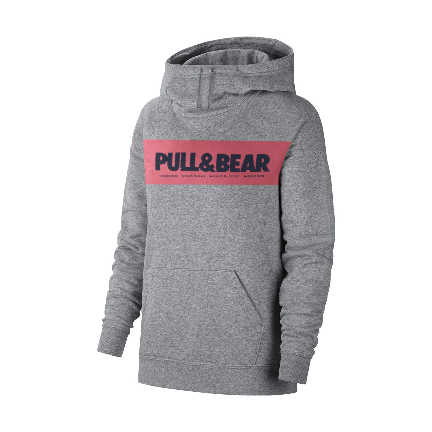 P&B Fleece Pullover Hoodie For Men-Charcoal Melange with Pink Panel-BE13227