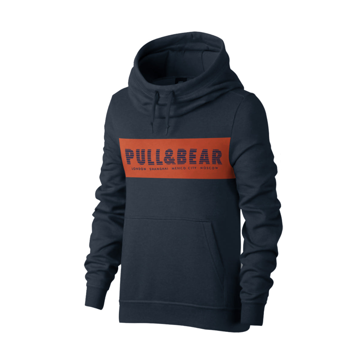 P&B Fleece Pullover Hoodie For Men-Dark Mid Navy with Orange Panel-BE13827