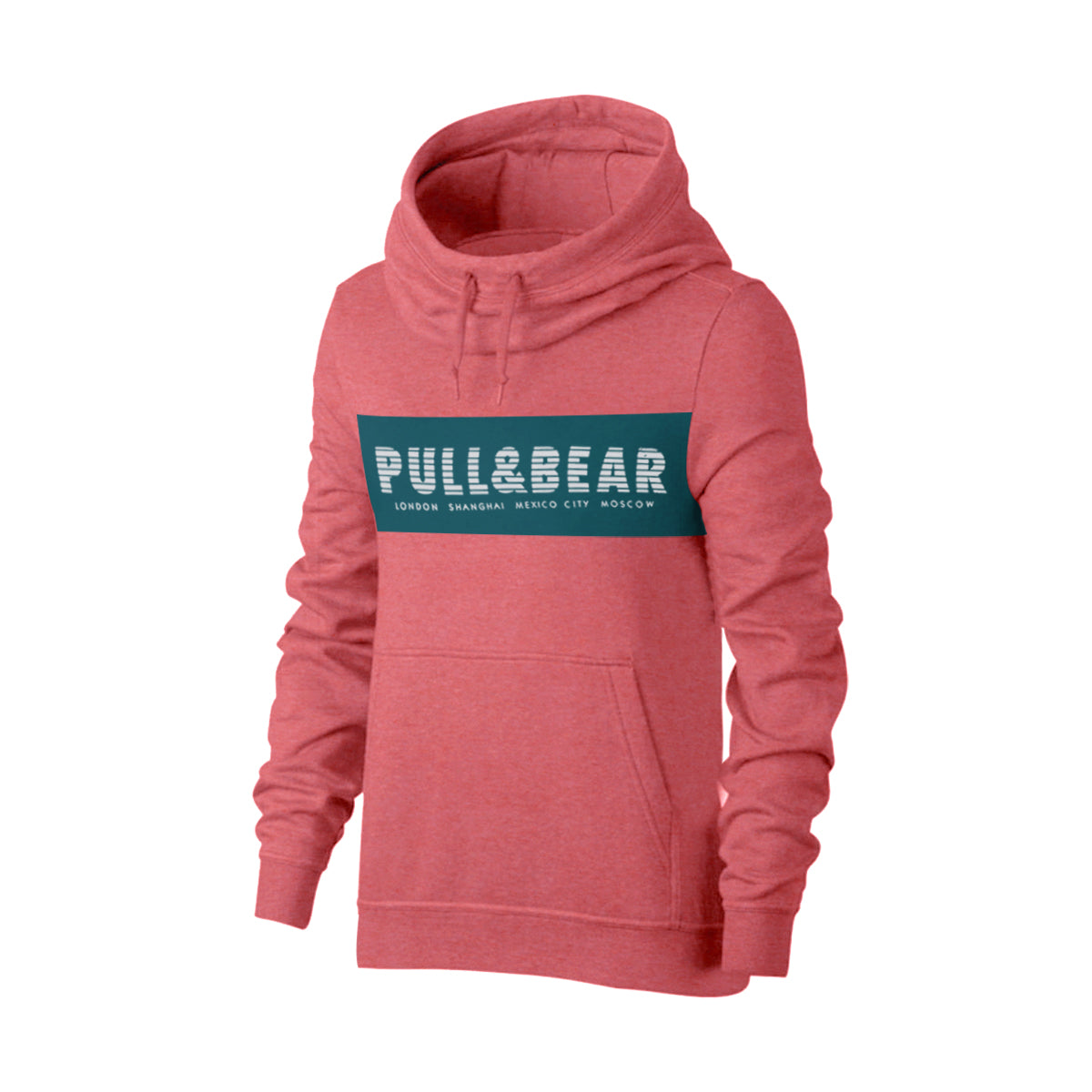 Pull & Bear Fleece Pullover Hoodie For Men-Dark Pink Melange With Prussian Blue Panel-BE13459