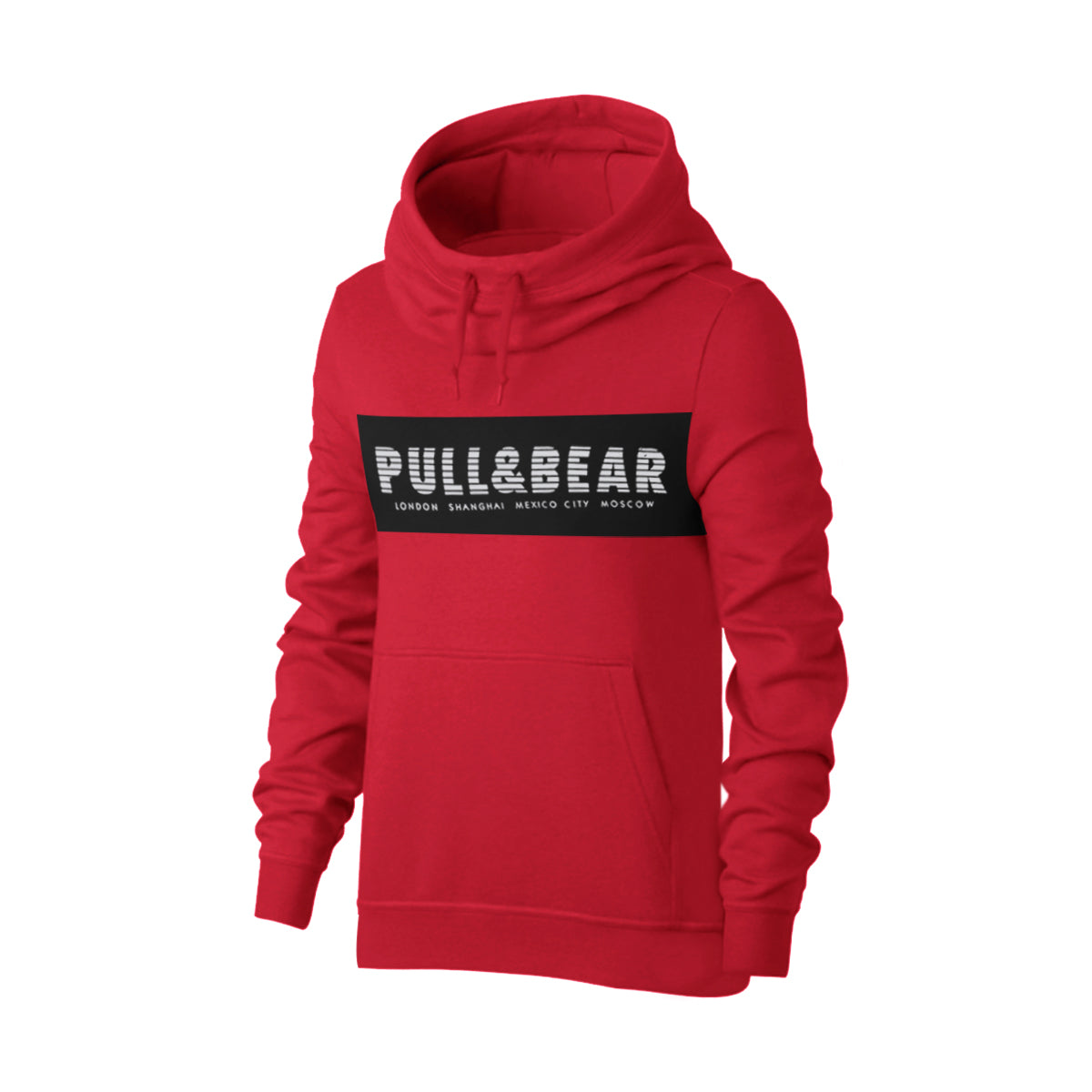 P&B Fleece Pullover Hoodie For Men-Dark Red With Black Panel-BE13828