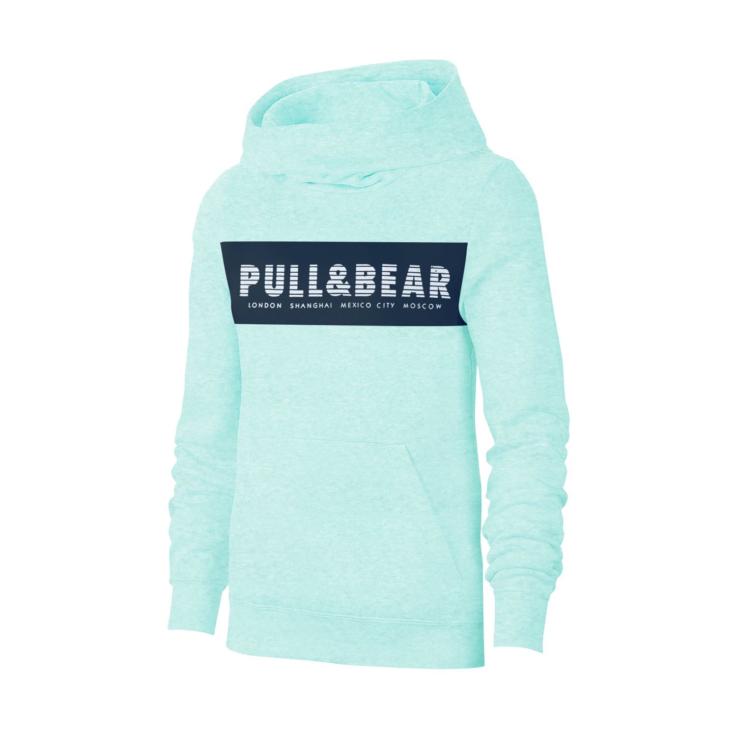 Pull & Bear Fleece Pullover Hoodie For Men-Green Melange With Navy Panel-BE13428