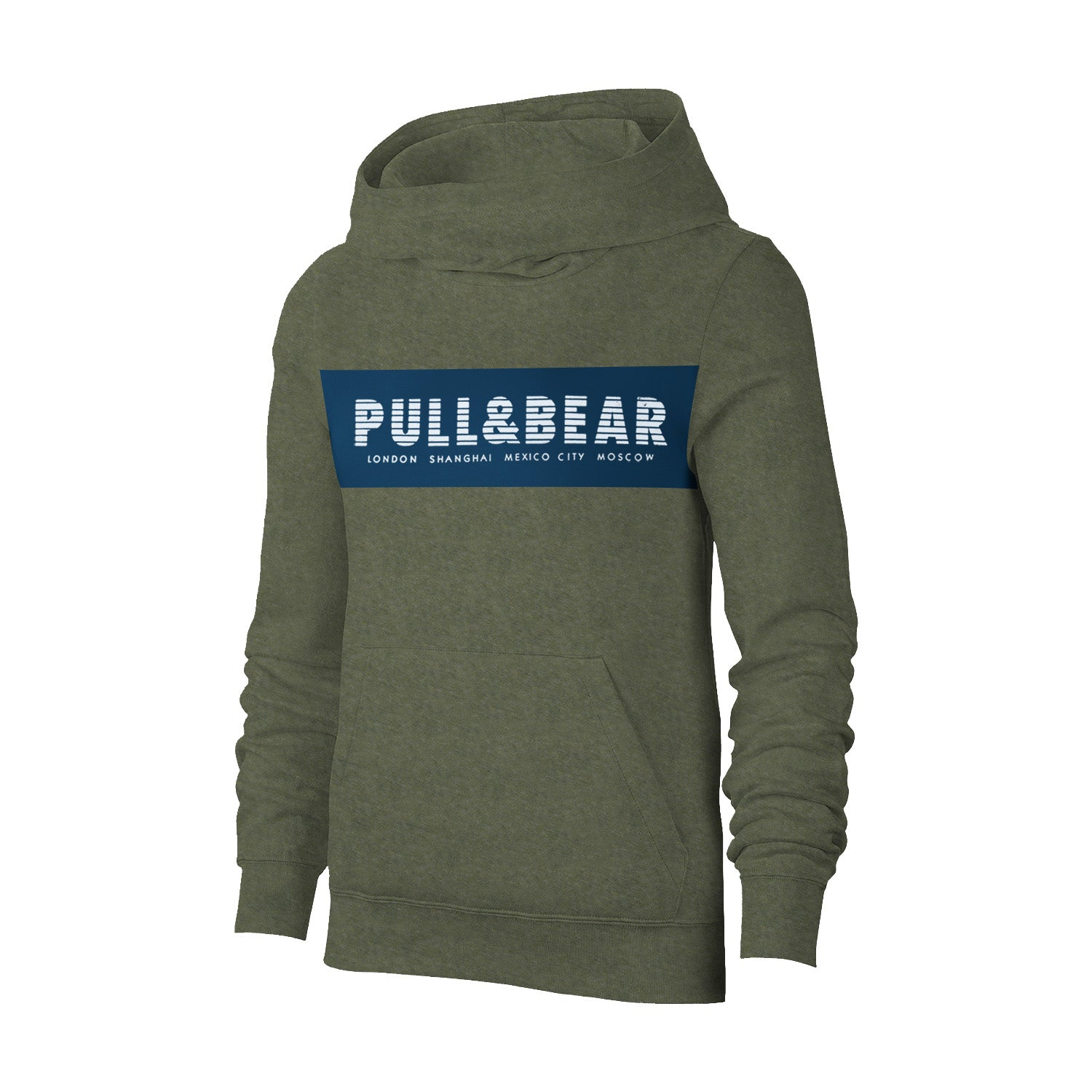 P&B Fleece Pullover Hoodie For Men-Olive Melange with Navy Panel-BE13317