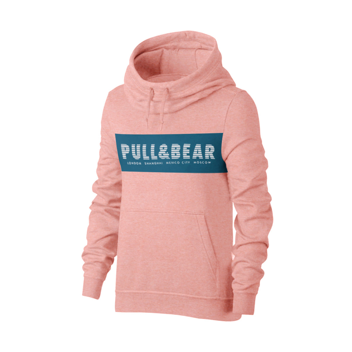 Pull & Bear Fleece Pullover Hoodie For Men-Pink Melange With Navy Panel-BE13429