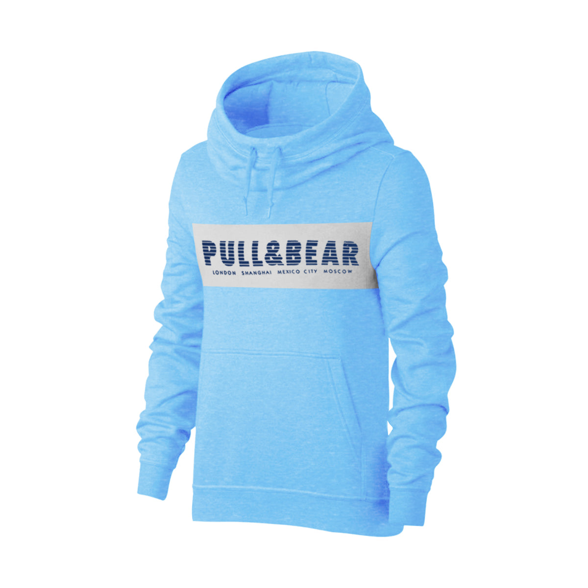 P&B Fleece Pullover Hoodie For Men-Sky Melange With Grey Melange Panel-BE13829