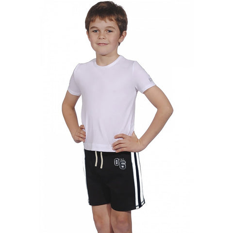George Fleece Short For Kids-Black & White Striped-BE944