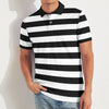 Red Camel Short Sleeve Single Jersey Polo Shirt For Men-Black & White Stripe-BE8620