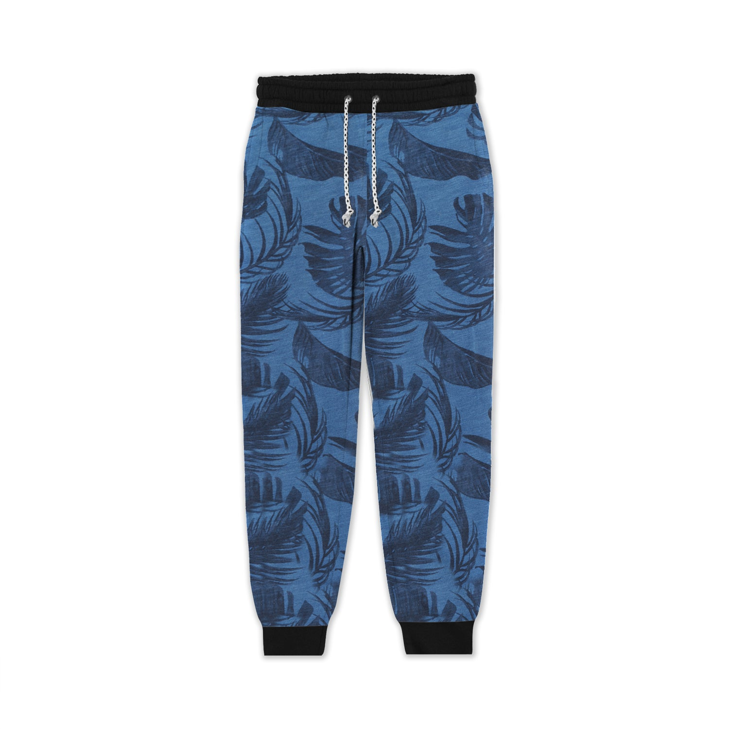 Red Pearl Terry Fleece Slim Fit Jogger Trouser For Kids-Blue with Allover Leaf Print-BE13353
