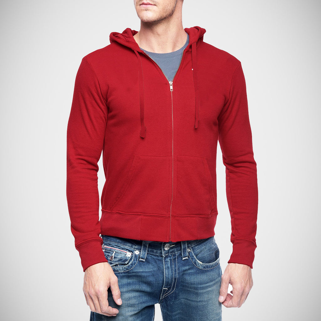 "Men's ""KARIBAN"" Solid Zipper Hoodie-Red-M41"