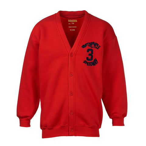 "Kid's ""BARAKSHA"" Y-Neck (Motorcycle Print) Full Sleeve Cardigan-Red (B85)"