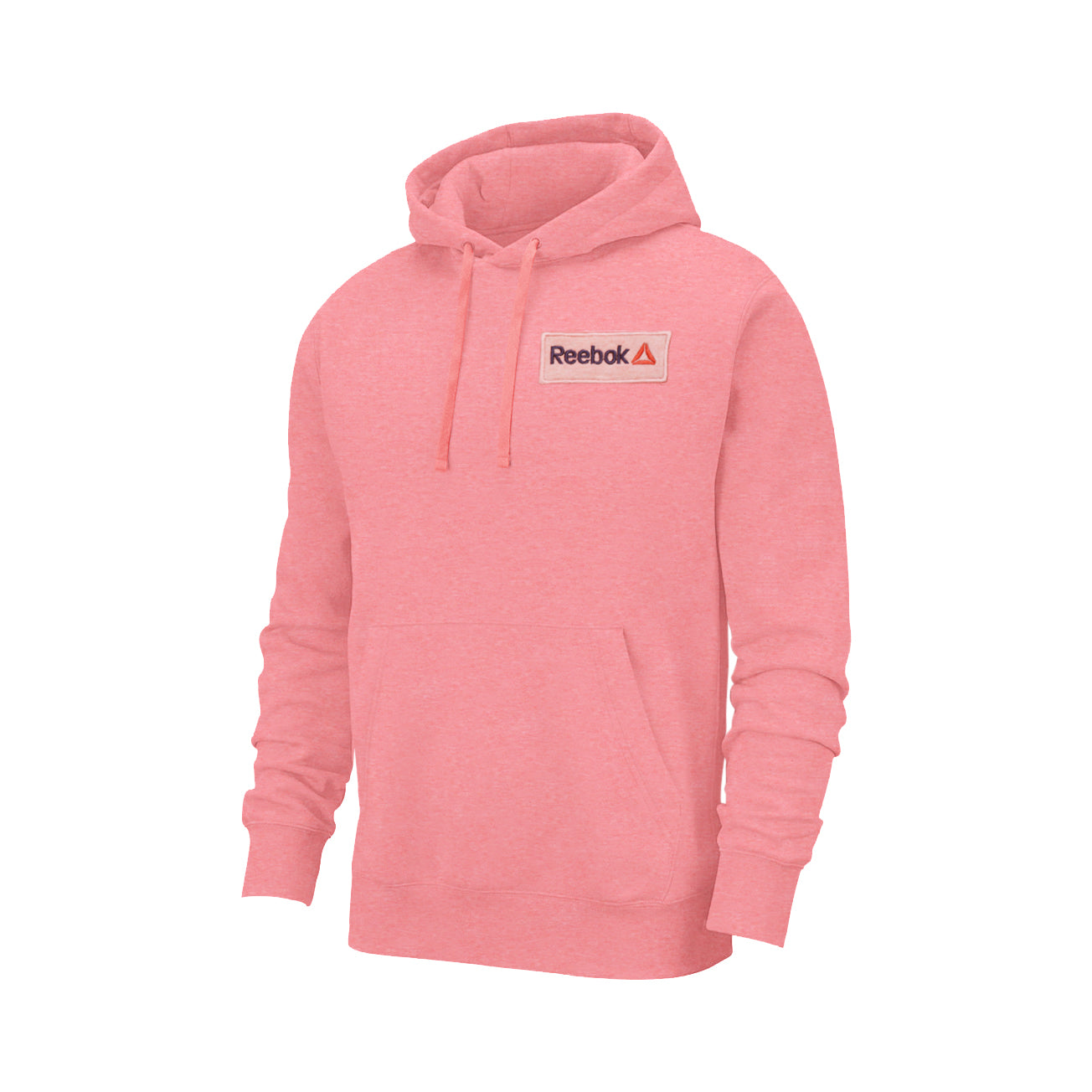 RB Fleece Pullover Hoodie For Men-Pink Melange With Navy Embroidery-BE13557