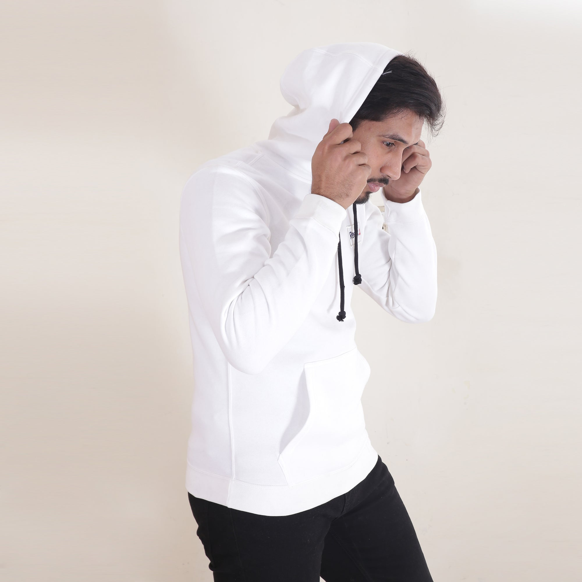 RB Fleece Pullover Hoodie For Men-White with Navy Embroidery-BE13255