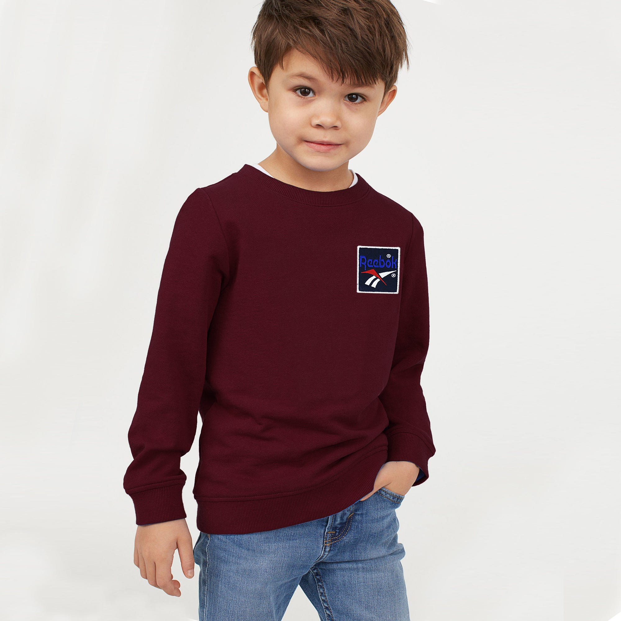 Reebok Terry Fleece Sweatshirt For Kids-Dark Maroon-BE7894