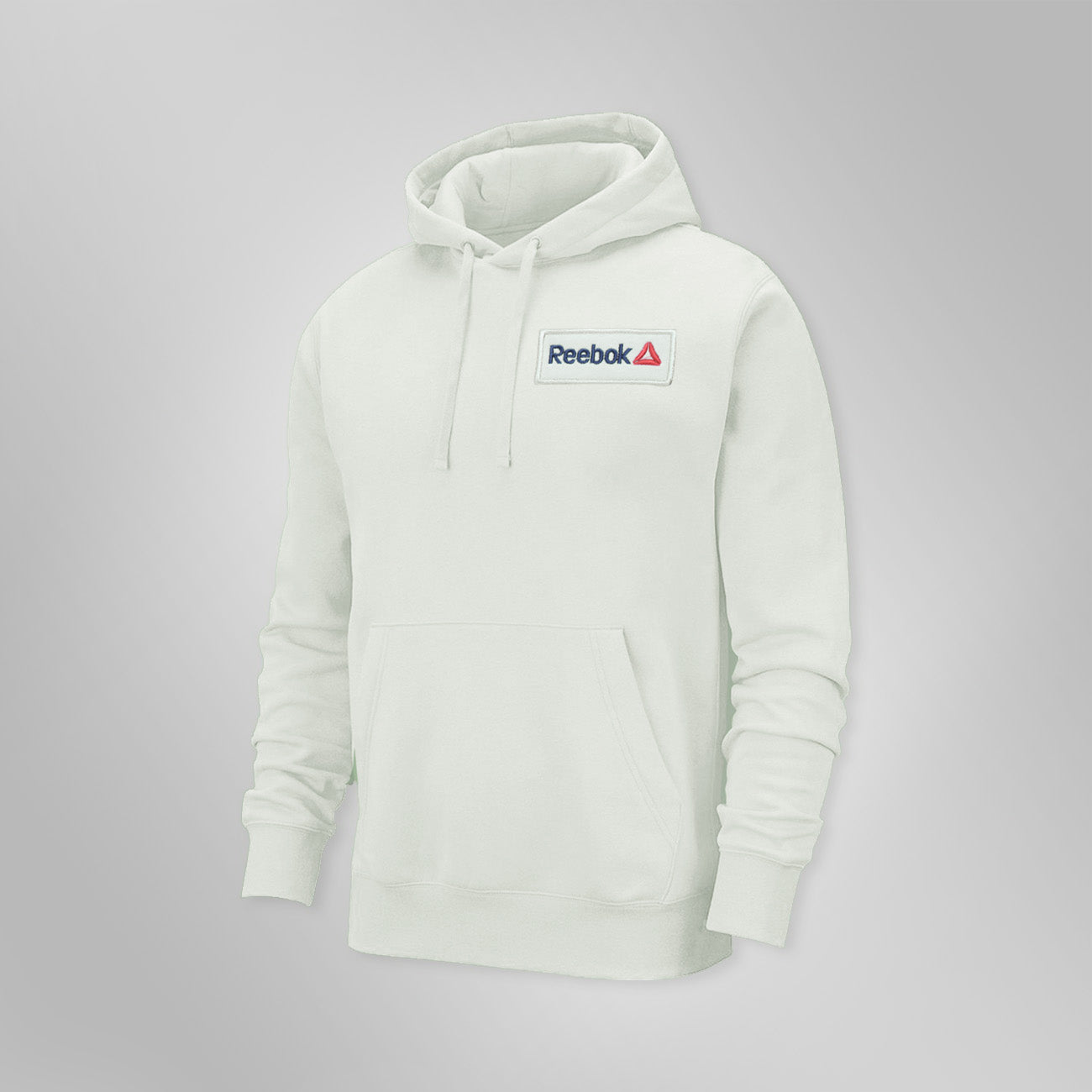 RB Fleece Pullover Hoodie For Men-White Smoke with Navy Embroidery-BE13179
