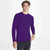 Republic Rib Crew Neck Long Sleeve Shirt For Men-Purple-BE6007