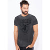 River Island Burnout Wash Short Sleeve Tee Shirt For Men-Charcoal-BE6884