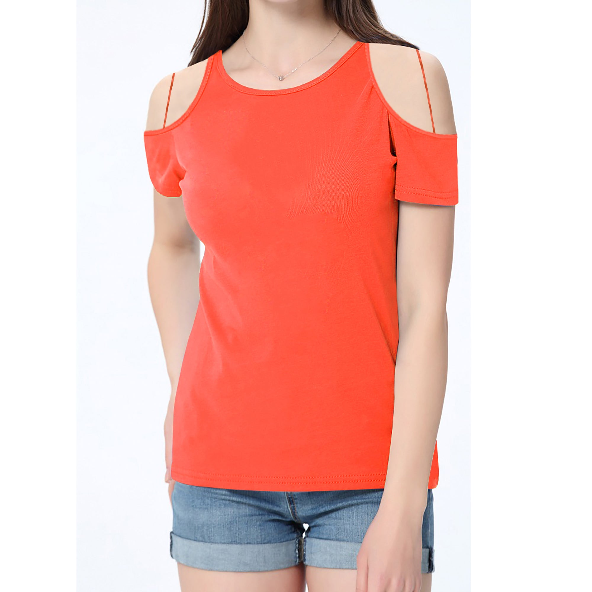 brandsego - River Island Shoulder less Burnout Blouse For Ladies-Orange-BE7418