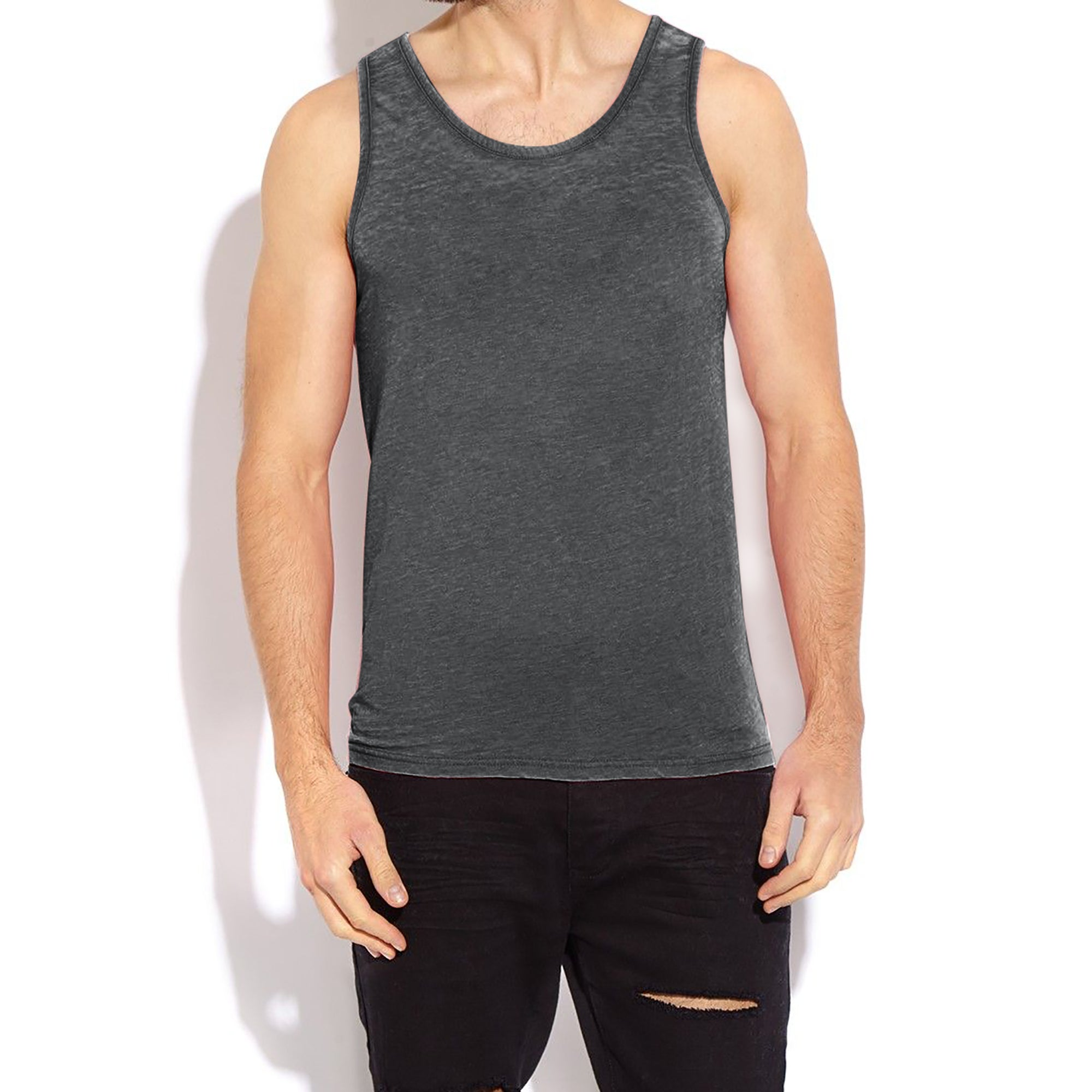 River Island Sleeveless Burnout Vest For Men-Charcoal-BE7419