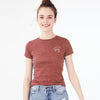 brandsego - Roxy Half Sleeve Stylish Crew Neck Tee Shirt For Women-Dark Red Melange-BE8568