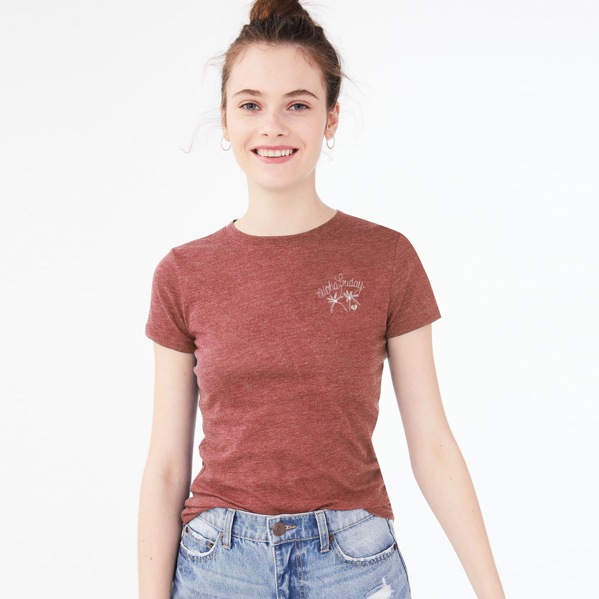 Roxy Half Sleeve Stylish Crew Neck Tee Shirt For Women-Dark Red Melange-BE8568