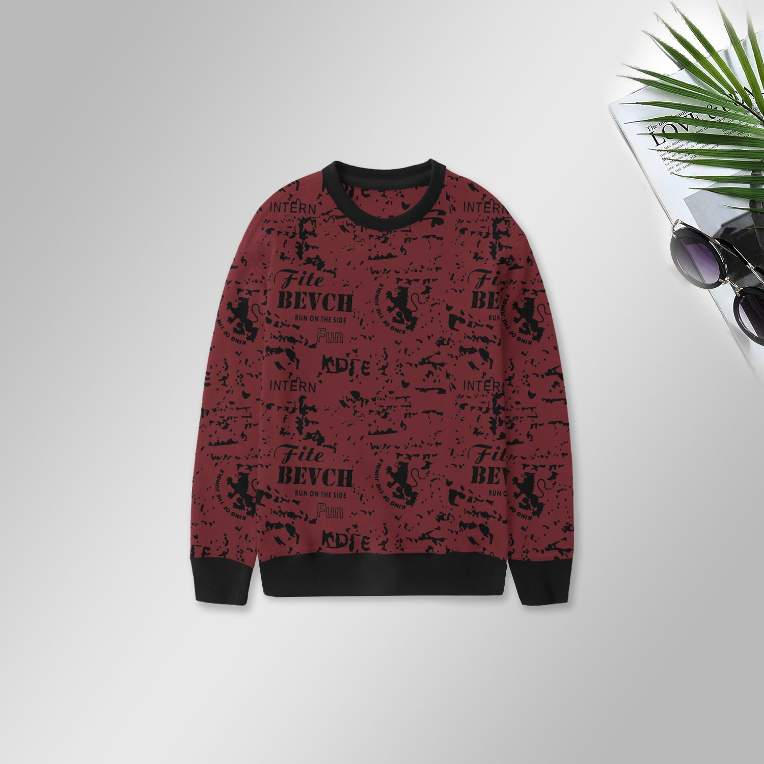 Royal Rag Fleece Sweatshirt For Kids-Dark Red with Allover Print-BE13745