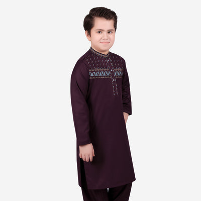 brandsego - S.A.F Washing Wear Kurta Pajama For Kids-Dark Maroon-BE9714