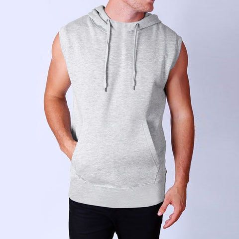 "Men's Cut Label ""B&C"" Stylish Sleeve Less Hoodie-Gray-SLH02"
