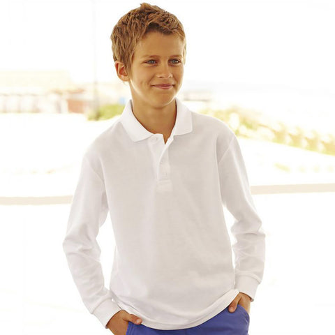 Dickies Full Sleeve Polo Shirt For Boys-White-BE782