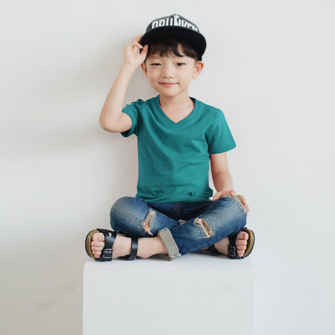 Fassion V Neck T Shirt For Boys-Cyan Melange-BE780