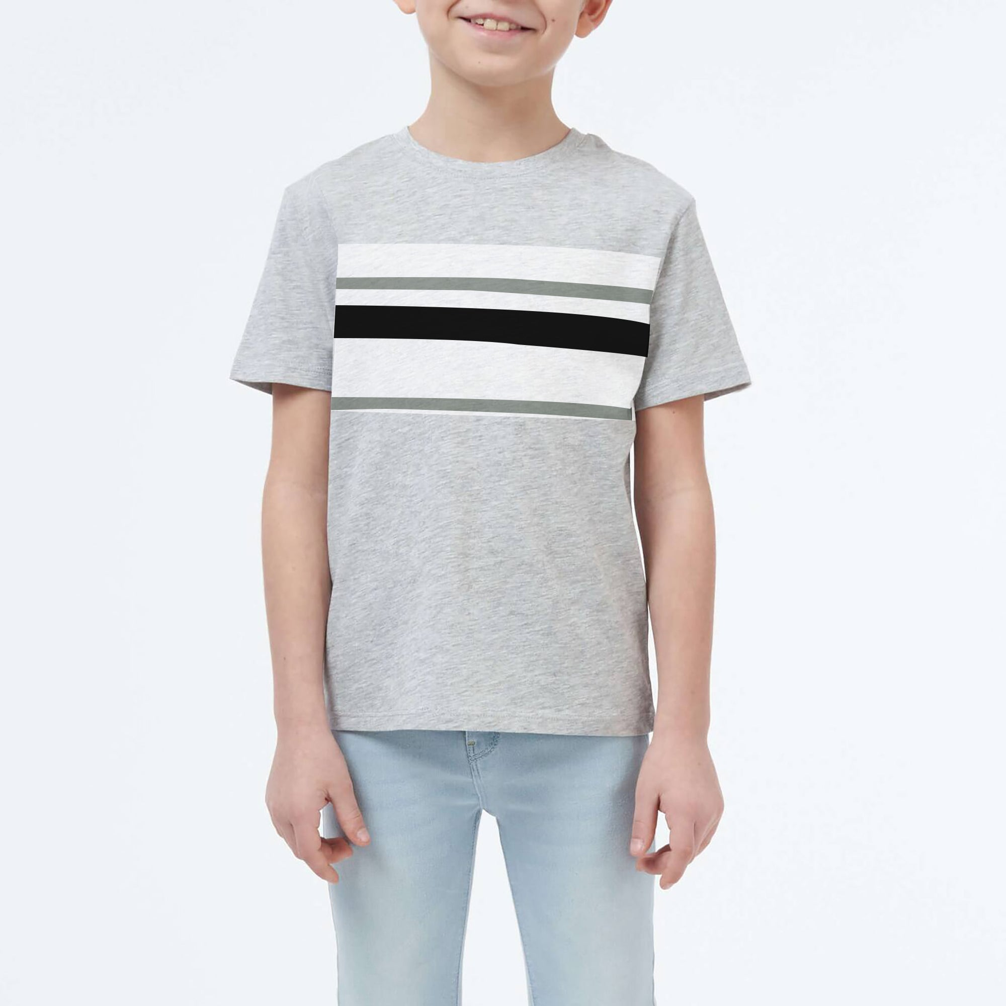 NK Crew Neck Tee Shirt For Kids-Grey Melange With Panels-SP2854