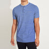 Saeed Ajmal Henley Single Jersey Tee Shirt For Men-Blue Lining-BE8334