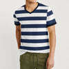 Saeed Ajmal V Neck Single Jersey Tee Shirt For Men-Dark Navy & White Stripe-BE8333
