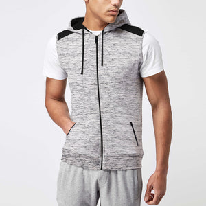 Next Fleece Sleeveless Hoodie For Men-Off White Melange-BE3524