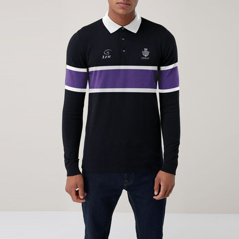 Scotland Sport Wear Polo Shirt For Men-Black with Purple & White Stripe-SA0014