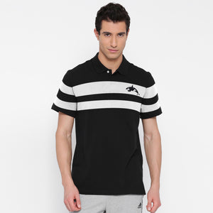 Seaworld Jersey Polo For Men White with Black stripe -SA0020
