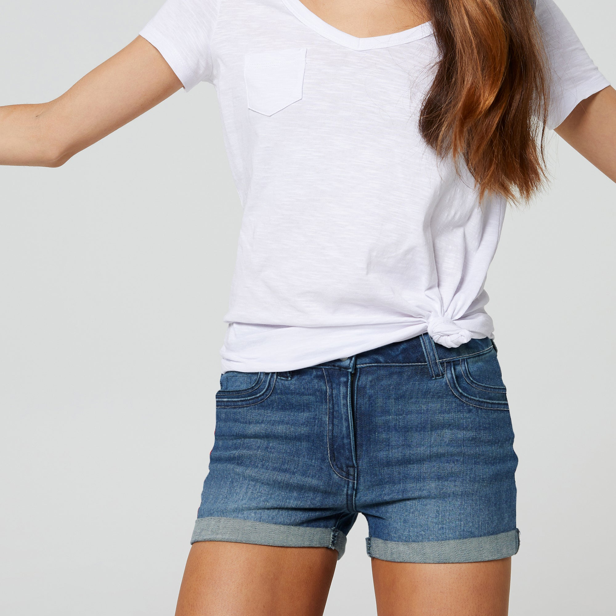 brandsego - SHORT Denim Short For Girls-Blue Faded-BE7069