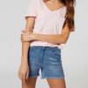 SHORT Denim Short For Girls-Light Navy Faded-BE7083