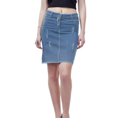brandsego - SHORT Denim Skirt For Girls-Light Navy Faded-BE7096