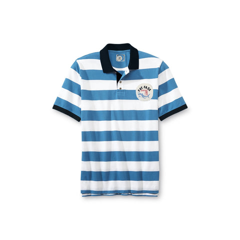 Fat Face Polo Shirt for Kids-White & Sky Blue Stripe-BE2291