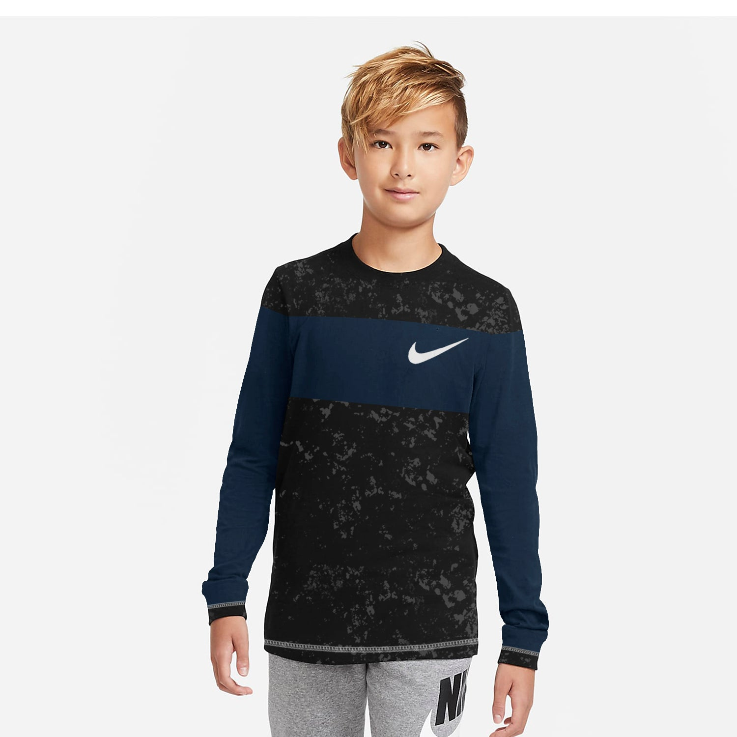 NK Crew Neck Single Jersey Long Sleeve Tee Shirt For Kids-Black Faded With Dark Navy Panel-SP3527