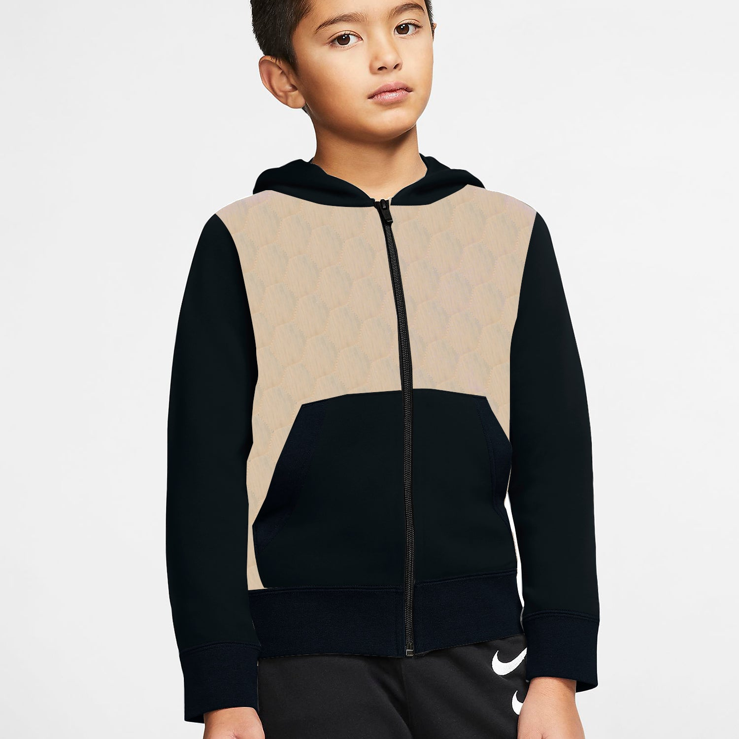Tommy Hilfiger Quilted Zipper Hoodie For Kids-Peach Melange-SP3342