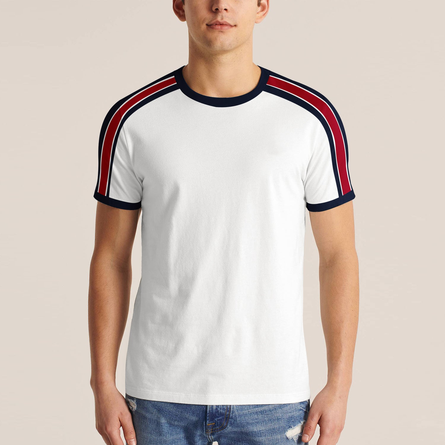 Spring Field Stylish Summer Tee Shirt For Men-White with Stripe-BE11376