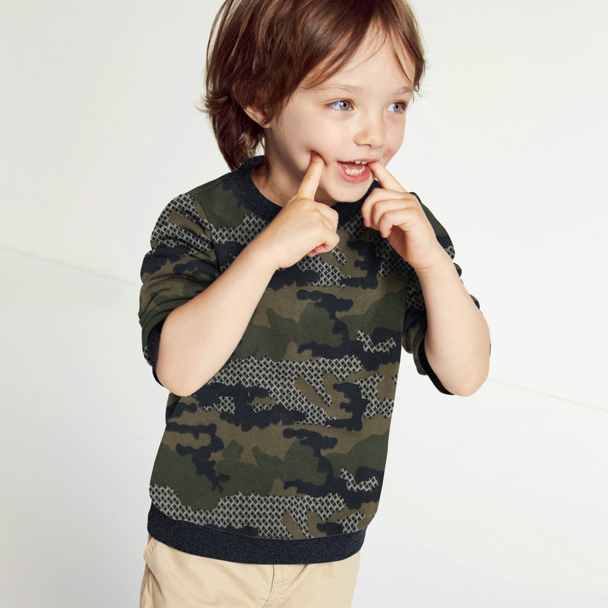 Tommy Hilfiger Fleece Crew Neck Sweatshirt For Kids-Camouflage-SP1381