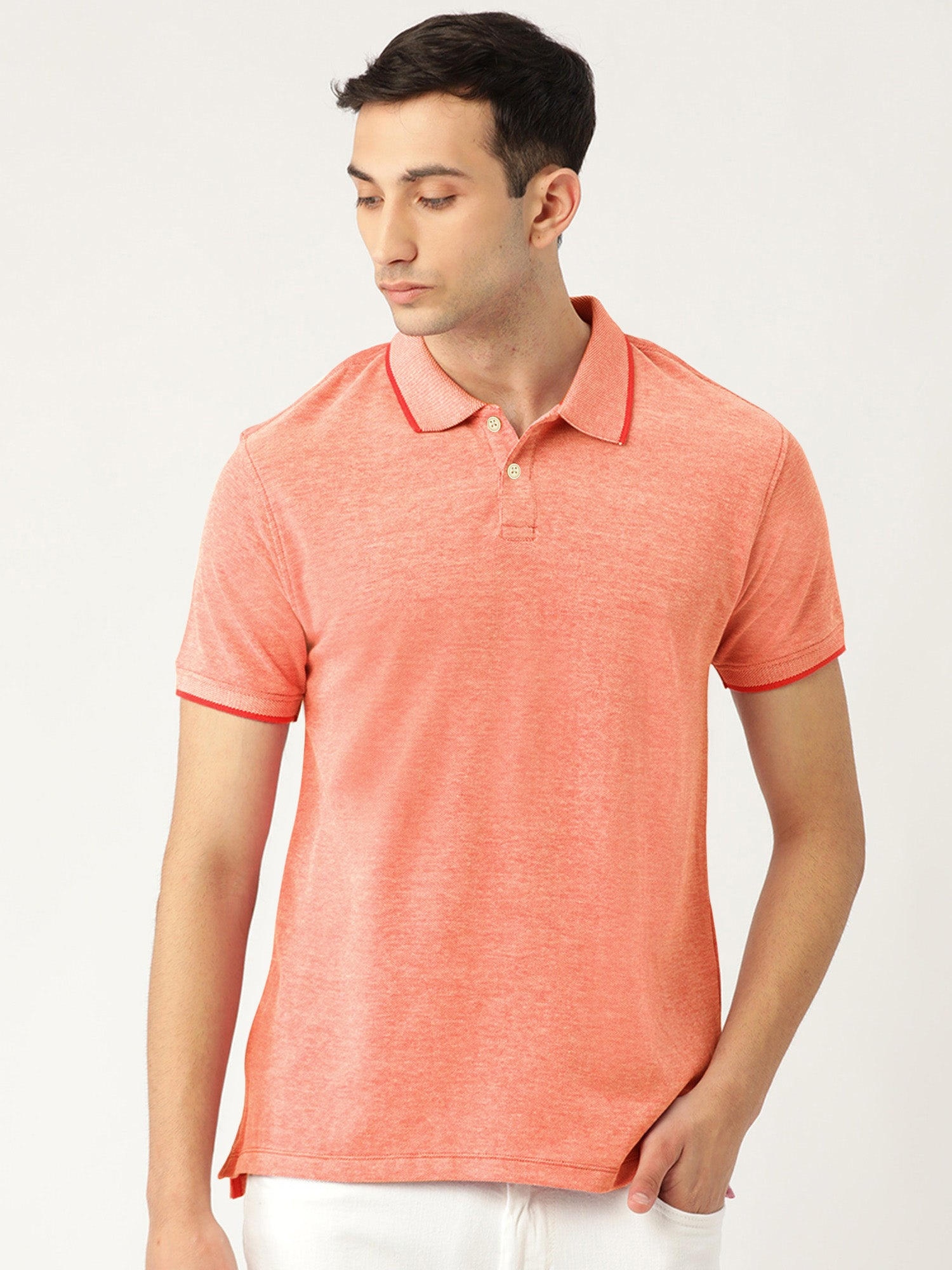 St Jhons's Bay Short Sleeve P.Q Polo Shirt For Men-Coral Orange Melange-BE14613