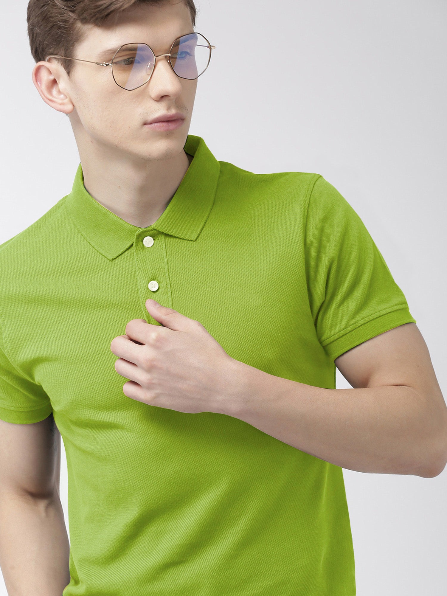 St Jhons's Bay Short Sleeve P.Q Polo Shirt For Men-Dark Lime Green-BE14614