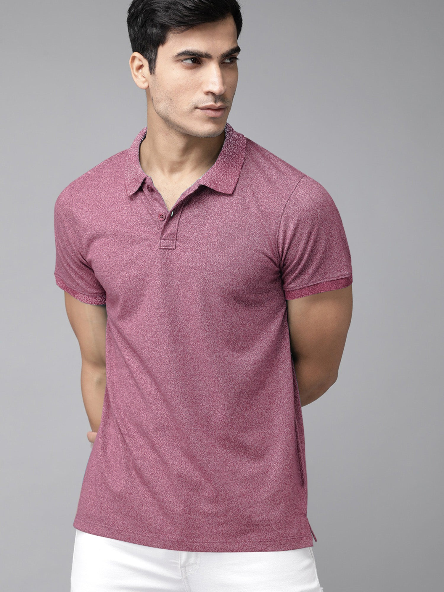 St Jhons's Bay Short Sleeve P.Q Polo Shirt For Men-Maroon Melange-BE14612