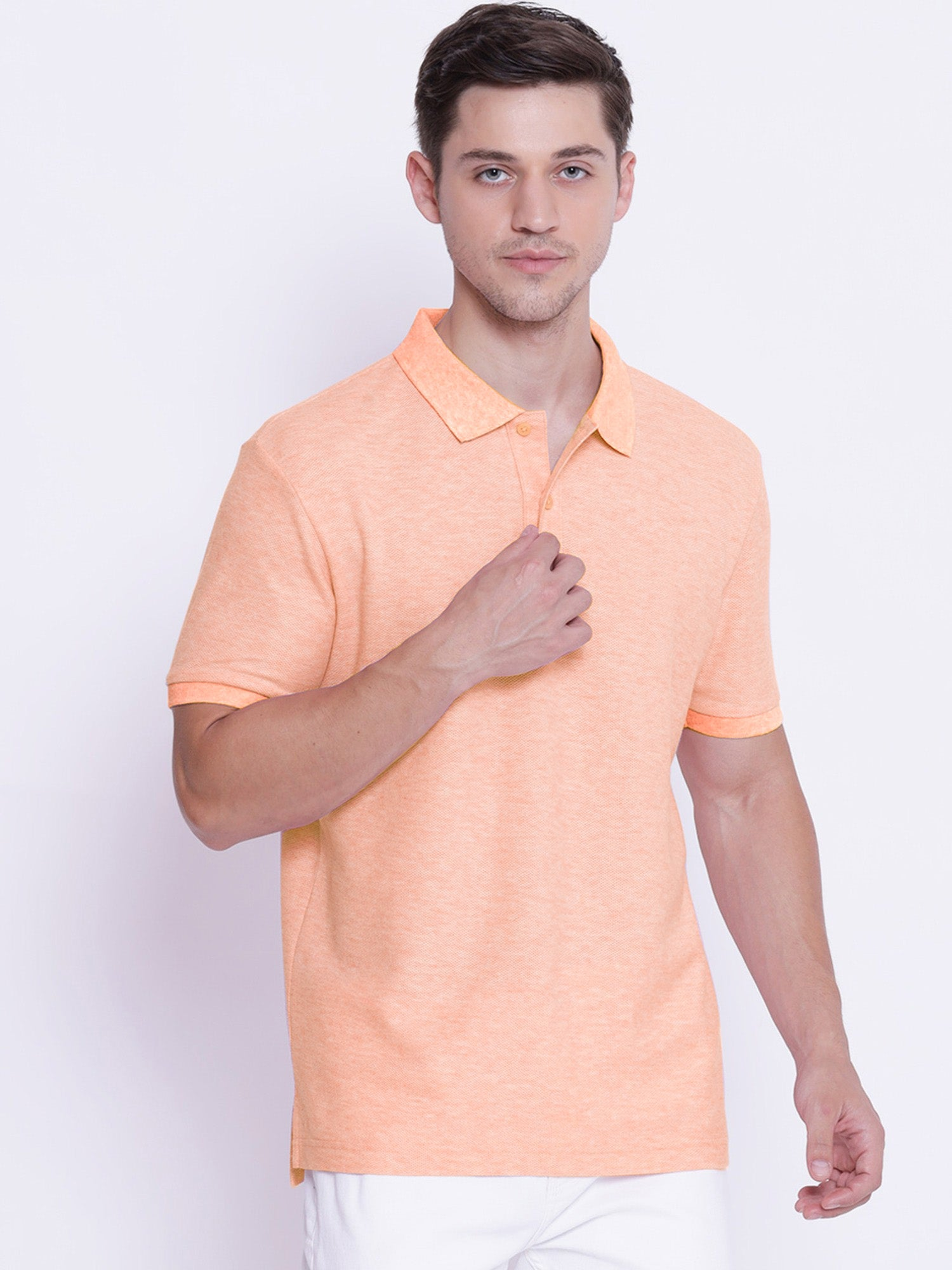 St Jhons's Bay Short Sleeve P.Q Polo Shirt For Men-Orange Melange-BE14611