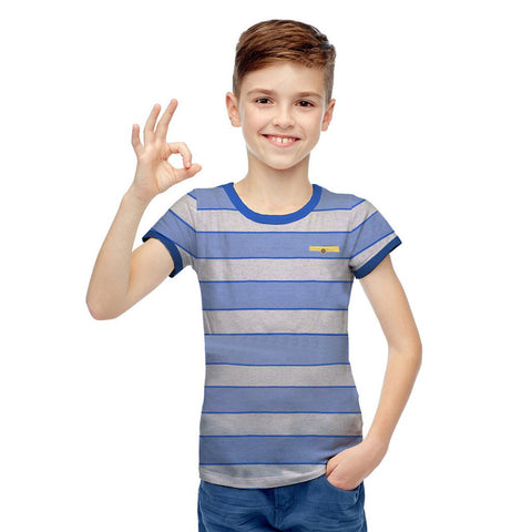 Next Cut Label Crew Neck Half Sleeve T Shirt For Kid-Yarn Dyed-BE2137