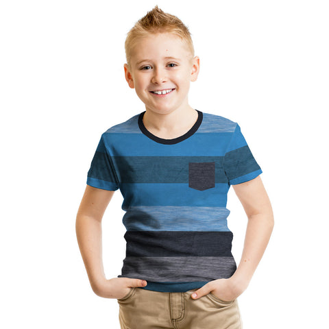 Next Cut Label Crew Neck Half Sleeve T Shirt For Kid-Yarn Dyed-BE2138