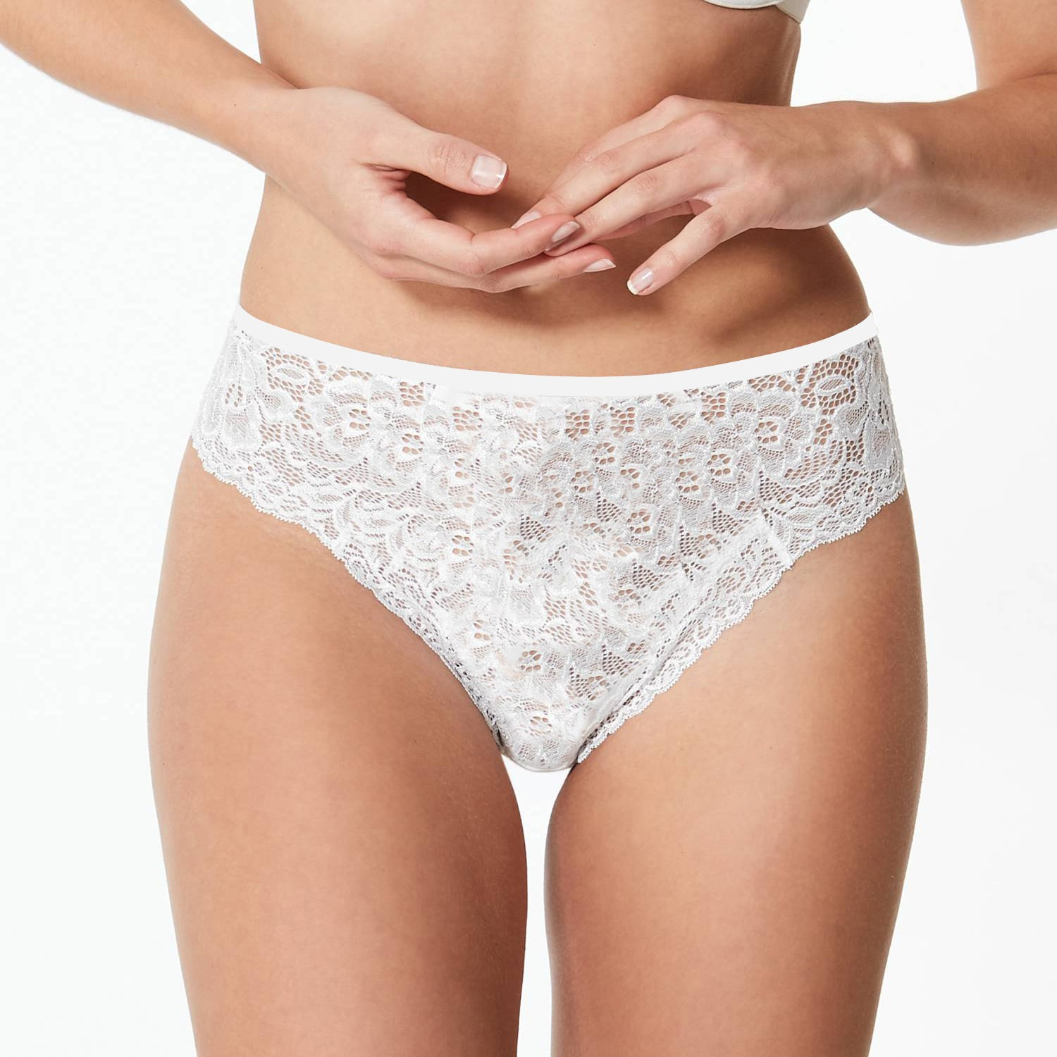 Stylish Lace Bikini For Ladies-White-BE8730